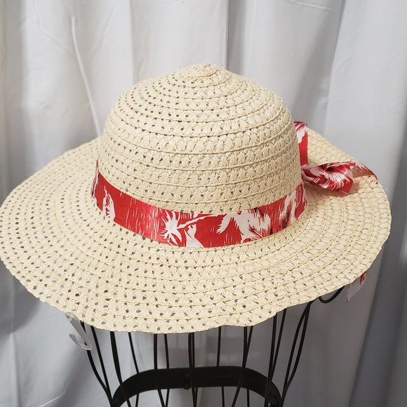 Accessories - Straw Sun Hat W/ Tropical Flower Print Ribbon NWT